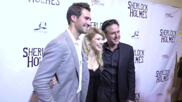 james maslow renee olstead david arquette at the opening night of sir arthur conan doyle's sherlock holmes at the montalban theatre in hollywood... - arthur conan doyle stock videos & royalty-free footage