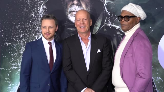 james mcavoy bruce willis samuel l jackson at glass new york premiere at sva theater on january 15 2019 in new york city - bruce willis stock videos and b-roll footage