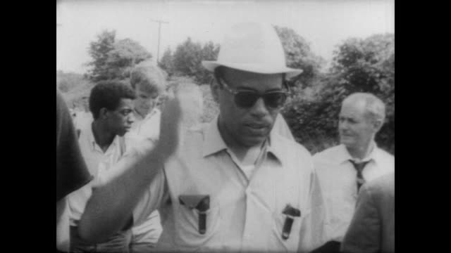 James Meredith resumes Walk Against Fear as part of the Civil Rights Movement / walks through Mississippi surrounded by both white and black men /...