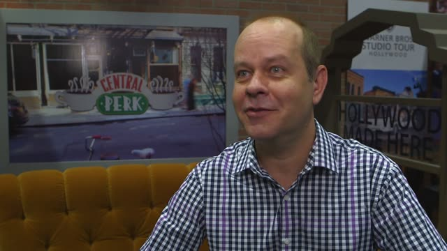 interview james michael tyler on visitors to warner brothers tours being able to go onto the set of friends as an interactive experience says he had... - cast member stock videos & royalty-free footage
