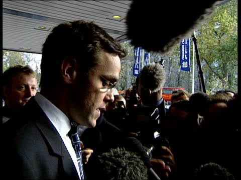 james murdoch with press around and speaking to press sot car carrying murdoch driven away cms andrew neil interview sot lord st john of fawsley... - andrew neil stock videos & royalty-free footage