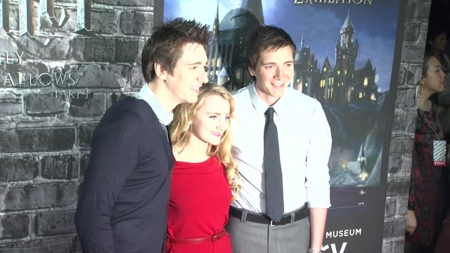 james phelps and oliver phelps and evanna lynch at the launch event for the home entertainment release of harry potter and the deathly hallows part 1... - oliver phelps stock videos & royalty-free footage