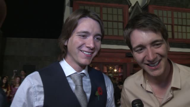 james phelps and oliver phelps on being at the event - oliver phelps stock videos & royalty-free footage