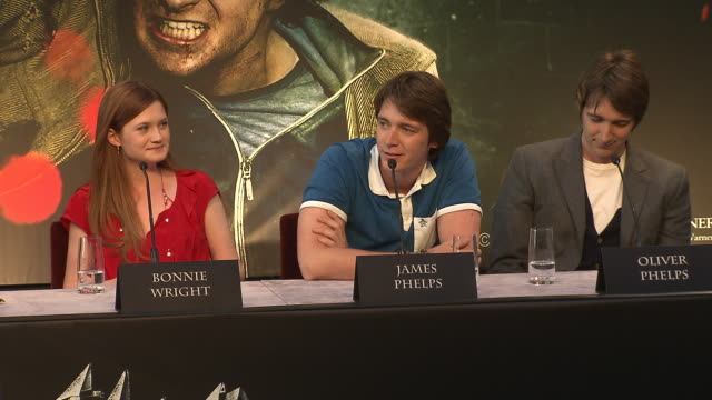 james phelps on his favorite line from the films at the harry potter the deathly hallows part 2 press conference at london england - james phelps stock videos & royalty-free footage
