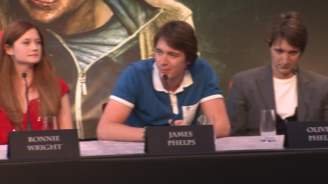 james phelps on his favorite prop from the film at the harry potter the deathly hallows part 2 press conference at london england - james phelps stock videos & royalty-free footage