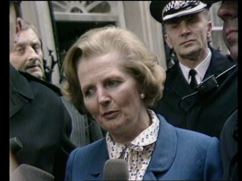 james prior james prior itn lib london downing street cms pm thatcher waving to crowds ashusband denis beside her after election victory as cheering... - election stock videos & royalty-free footage
