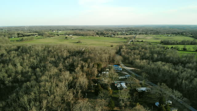 james river basin battlefield missouri early spring agriculture and forest 4k aerial video - missouri stock videos & royalty-free footage