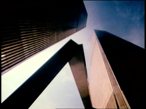 1976 LA James Rosati's Ideogram (1967) abstract sculpture in the plaza below the World Trade Center towers / New York City