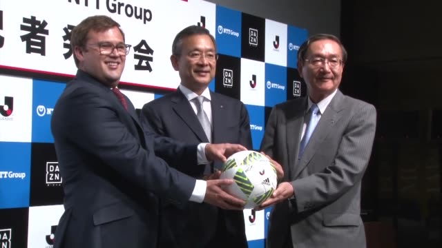 james rushton of perform group jleague chairman mitsuru murai and hiroo unoura president and ceo of nippon telegraph and telephone corp join hands... - sports league stock videos & royalty-free footage