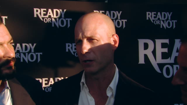 """interview james vanderbilt tripp vinson william sherack on the production at the """"ready or not"""" los angeles special screening presented by fox... - fox searchlight pictures stock videos & royalty-free footage"""