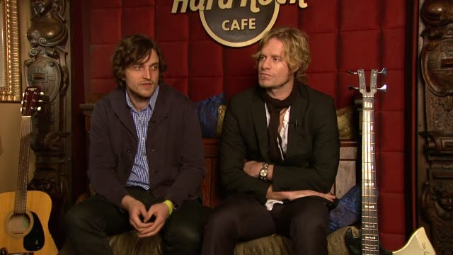 james walsh and arno carstens on the street2sanctuary gig on what performances they're going to do on how the most important thing is for the charity... - hard rock cafe stock videos & royalty-free footage
