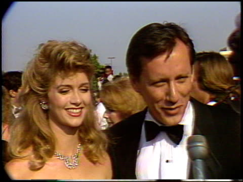 james woods at the 1987 emmy awards with stuart pankin at the pasadena civic auditorium in pasadena california on september 20 1987 - 1987 stock videos & royalty-free footage