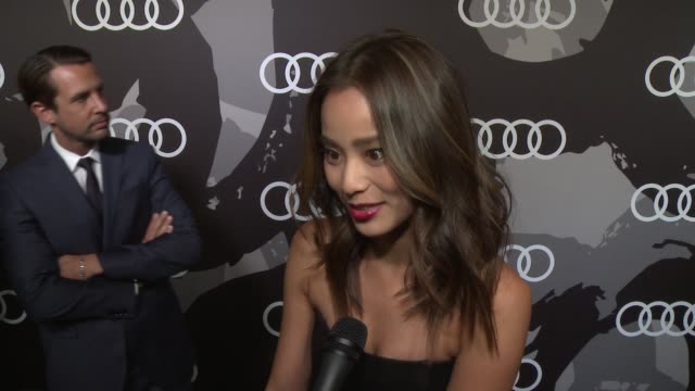 INTERVIEW Jamie Chung on who she's wearing tonight being a part of the night how she'll prepare for Golden Globe day at Audi Celebrates Golden Globes...