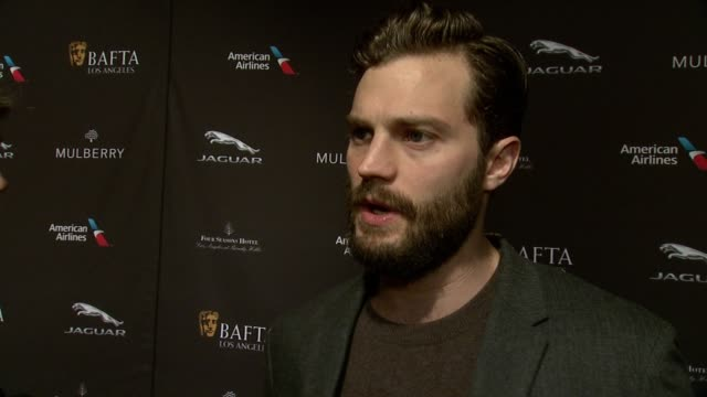 interview jamie dornan on being at the event on what makes the bafta tea party one of the most prestigious events of the weekend on the strength of... - golden globe awards stock videos and b-roll footage