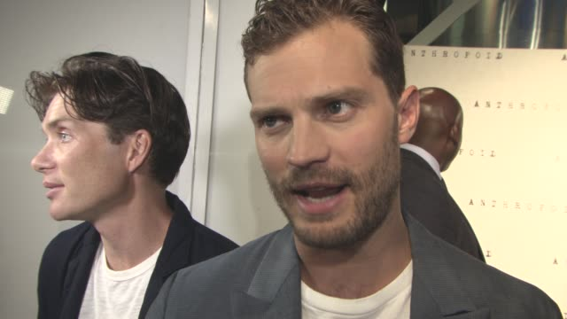 jamie dornan on the story, his career, working with cillian murphy, his up and coming releases at 'anthropoid' film premiere at bfi southbank on... - bfi southbank stock videos & royalty-free footage