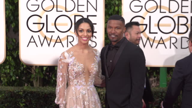Jamie Foxx and Annalise Bishop at the 73rd Annual Golden Globe Awards Arrivals at The Beverly Hilton Hotel on January 10 2016 in Beverly Hills...