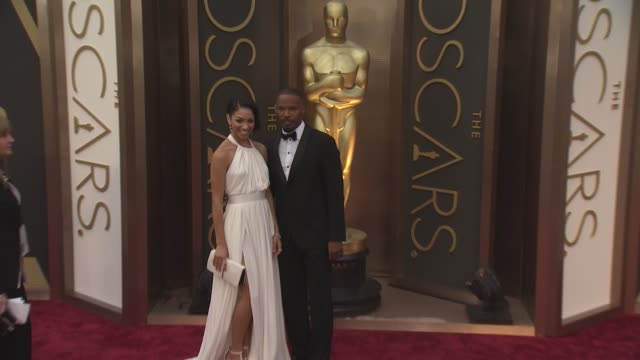 jamie foxx and corinne foxx - 86th annual academy awards - arrivals at hollywood & highland center on march 02, 2014 in hollywood, california. - hollywood and highland center stock videos & royalty-free footage