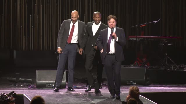 speech jamie foxx and mike myers at sean penn core gala a gala dinner to benefit the organization formerly known as j/p hro and their lifesaving work... - wiltern theatre stock videos and b-roll footage
