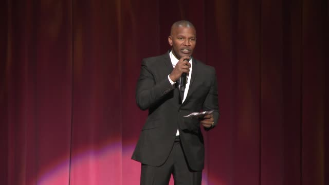 speech jamie foxx at sean penn core gala a gala dinner to benefit the organization formerly known as j/p hro and their lifesaving work at wiltern... - wiltern theatre stock videos and b-roll footage