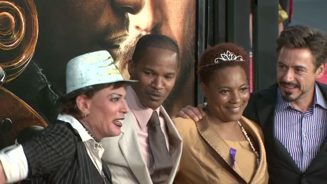 jamie foxx, robert downey jr. at the 'the soloist' premiere at los angeles ca. - soloist stock videos & royalty-free footage