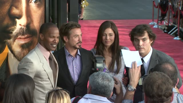 jamie foxx, robert downey jr., catherine keener at the 'the soloist' premiere at los angeles ca. - soloist stock videos & royalty-free footage