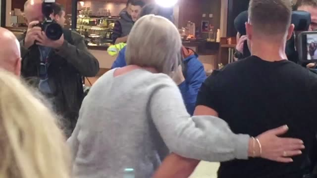 jamie harron from stirling arrives at glasgow airport after being freed by authorities in dubai for touching another man's hip and drinking alcohol... - スコットランド スターリング点の映像素材/bロール