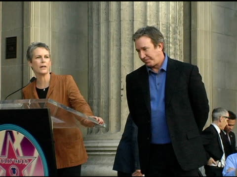 jamie lee curtis and tim allen at the dedication of tim allen's star on the 'hollywood walk of fame' at hollywood boulevard in hollywood california... - tim allen stock videos and b-roll footage
