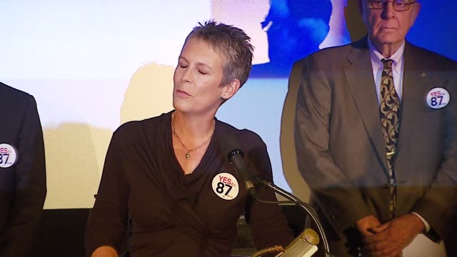 jamie lee curtis at the yes on 87 press conference at clarity theater in beverly hills california on october 9 2006 - yes single word stock videos & royalty-free footage
