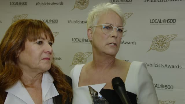 jamie lee curtis on her one and only publicist throughout her career, the trust they have with each other, the relationship they have, how they work... - the beverly hilton hotel stock videos & royalty-free footage