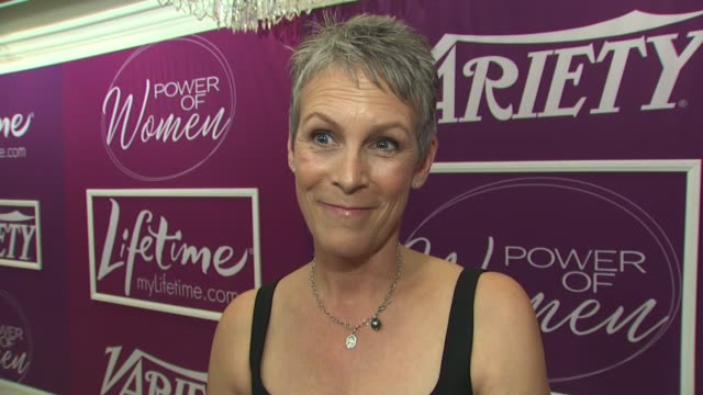 vídeos de stock, filmes e b-roll de jamie lee curtis on the event and the power of women to effect change at the variety's 1st annual power of women luncheon at beverly hills ca - variety