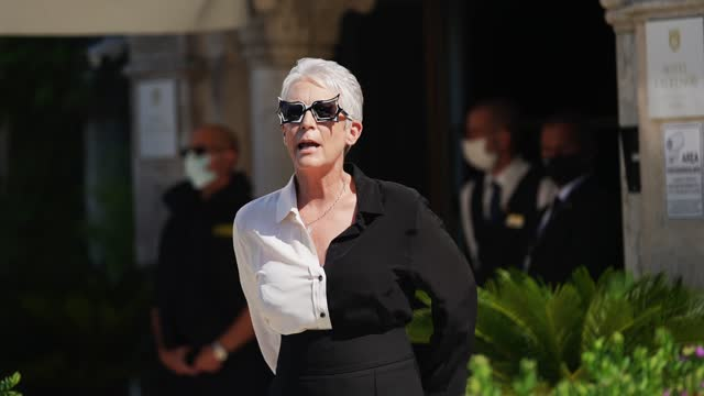 jamie lee curtis wears sunglasses, a bi color black and white shirt, at the 78th venice international film festival on september 8, 2021 in venice,... - celebrity sightings stock videos & royalty-free footage