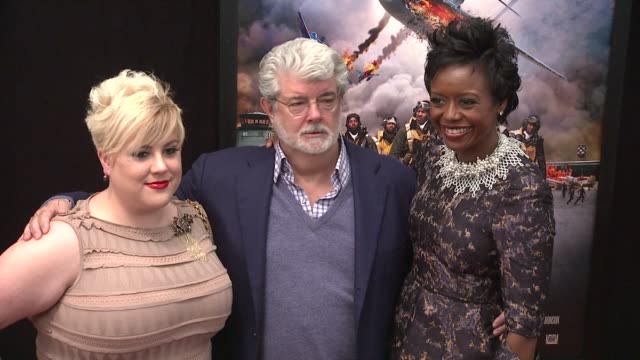 Jamie Lucas George Lucas and Mellody Hobson at Red Tails Premiere Red Carpet New York NY United States