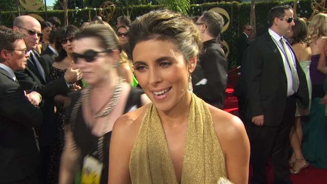 jamie lynn sigler on experiencing the emmys, who she's rooting for, how long it took her to get ready, her dress. at the 61st annual primetime emmy... - jamie lynn sigler stock videos & royalty-free footage