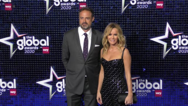 vídeos de stock, filmes e b-roll de jamie theakston and amanda holden at the global awards 2020 with very.co.uk on march 5, 2020 in london, england. - jamie theakston