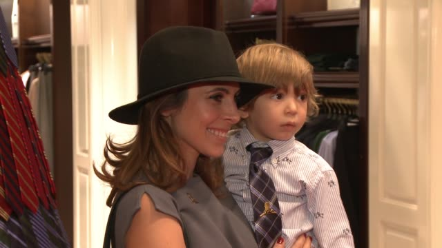 jamie-lynn sigler and beau kyle attend the brooks brothers holiday party with st jude children's research hospital at brooks brothers on rodeo drive... - jamie lynn sigler stock videos & royalty-free footage