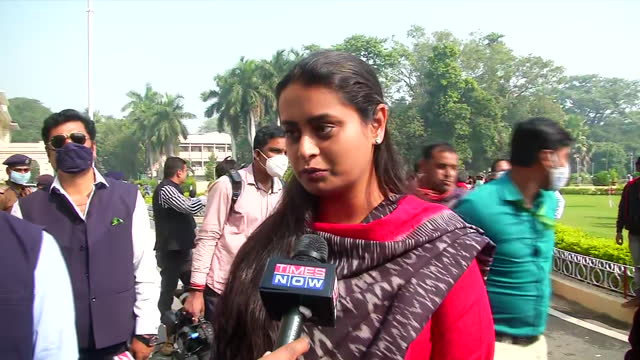 """jamui mla shreyasi singh's byte during the first day of assembly session in patna, bihar, on november 23, 2020. """"i am very excited slightly nervous... - byte stock videos & royalty-free footage"""
