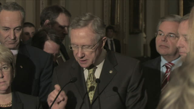 21 jan 2009 ms democrat senator harry reid surrounded by other politicians giving a speech about massachusetts special election / washington d - 2010 stock videos & royalty-free footage