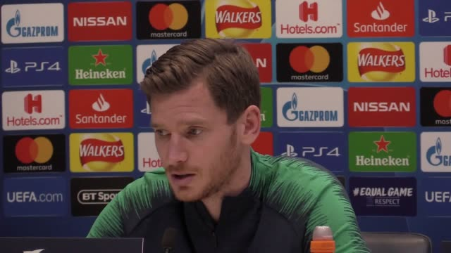 jan vertonghen press conference ahead of tottenham's game against borussia dortmund in the champions league - borussia dortmund stock videos and b-roll footage