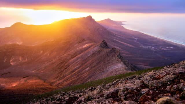 jandía natural park sunset, fuerteventura - españa stock videos and b-roll footage