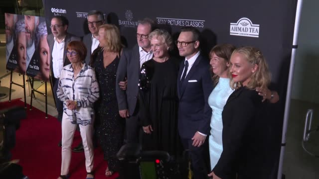 """jane anderson, björn runge, glenn close, christian slater, and annie stark at the """"the wife"""" los angeles premiere at pacific design center on july... - glenn close stock-videos und b-roll-filmmaterial"""