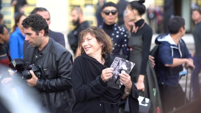 jane birkin outside hermes during paris fashion week womenswear spring/summer 2018 on october 2 2017 in paris france - hermes designer label stock videos and b-roll footage