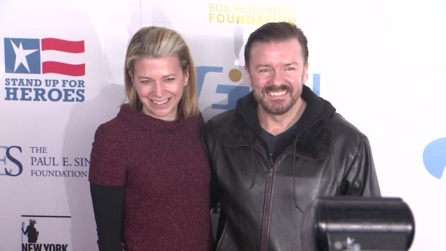 jane fallon and ricky gervais at the 6th annual stand up for heroes presented by the new york comedy festival and the bob woodruff foundation at the... - beacon theatre stock videos and b-roll footage