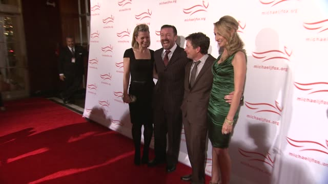 jane fallon ricky gervais michael j fox and tracy pollan at the 2011 a funny thing happened on the way to cure parkinson's red carpet at new york ny - michael j. fox stock videos and b-roll footage