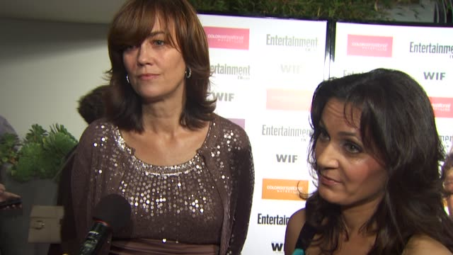 jane fleming and danica krislovitch of 'women in film' on the event mission statement at the entertainment weekly women in film preemmy party at west... - entertainment weekly stock-videos und b-roll-filmmaterial