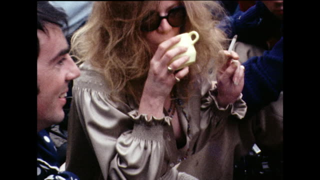 jane fonda and julie felix at isle of wight festival; 1969 - glamour stock videos & royalty-free footage