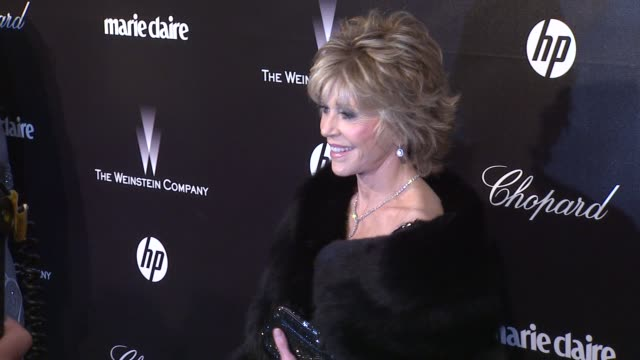 jane fonda at the weinstein company golden globe after-party at the beverly hilton hotel on 1/15/12 in los angeles, ca. - the beverly hilton hotel点の映像素材/bロール