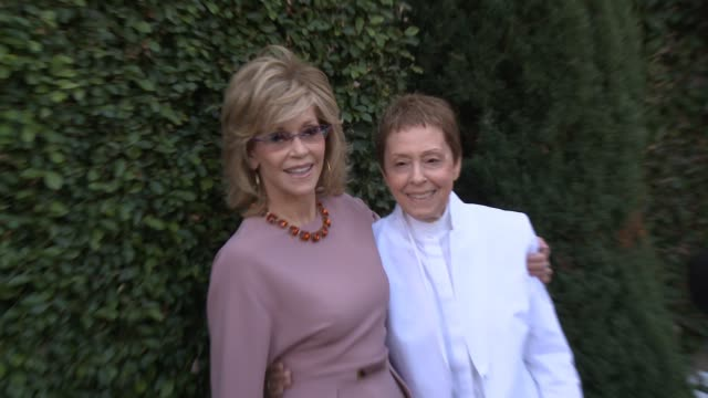 jane fonda gail abarbanel at the rape foundation's annual brunch at greenacres in los angeles ca - annual event stock videos & royalty-free footage