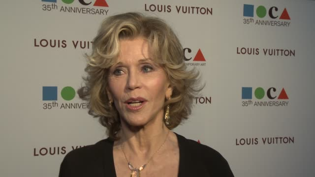 INTERVIEW Jane Fonda on MOCA's Gala at MOCA's 35th Anniversary Gala Presented By Louis Vuitton At The Geffen Contemporary At MOCA on March 29 2014 in...