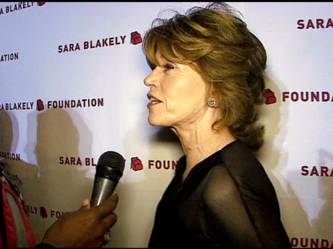 vídeos de stock, filmes e b-roll de jane fonda on sara blakely starting to give back so early in her career at the sara blakely foundation 'give a damn' party at ritz carlton in atlanta... - sara blakely