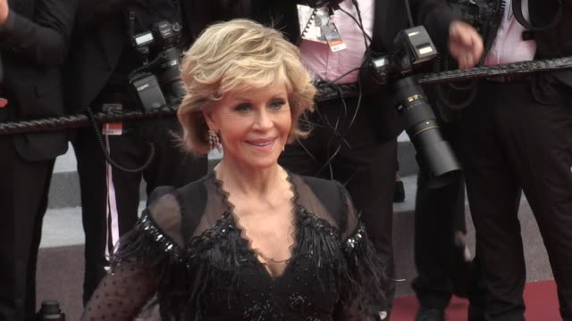 jane fonda on the red carpet for the premiere of le grand bain at the cannes film festival 2018 sunday 13 may 2018 cannes france - 71st international cannes film festival stock videos & royalty-free footage